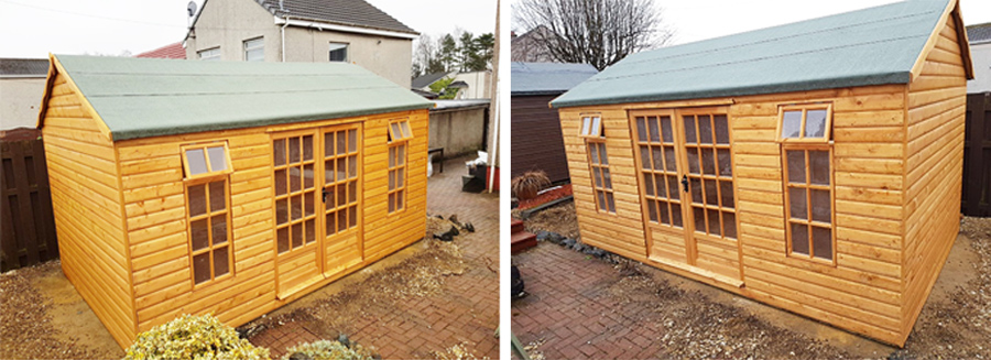 Bespoke summerhouse with double doors in 20mm log